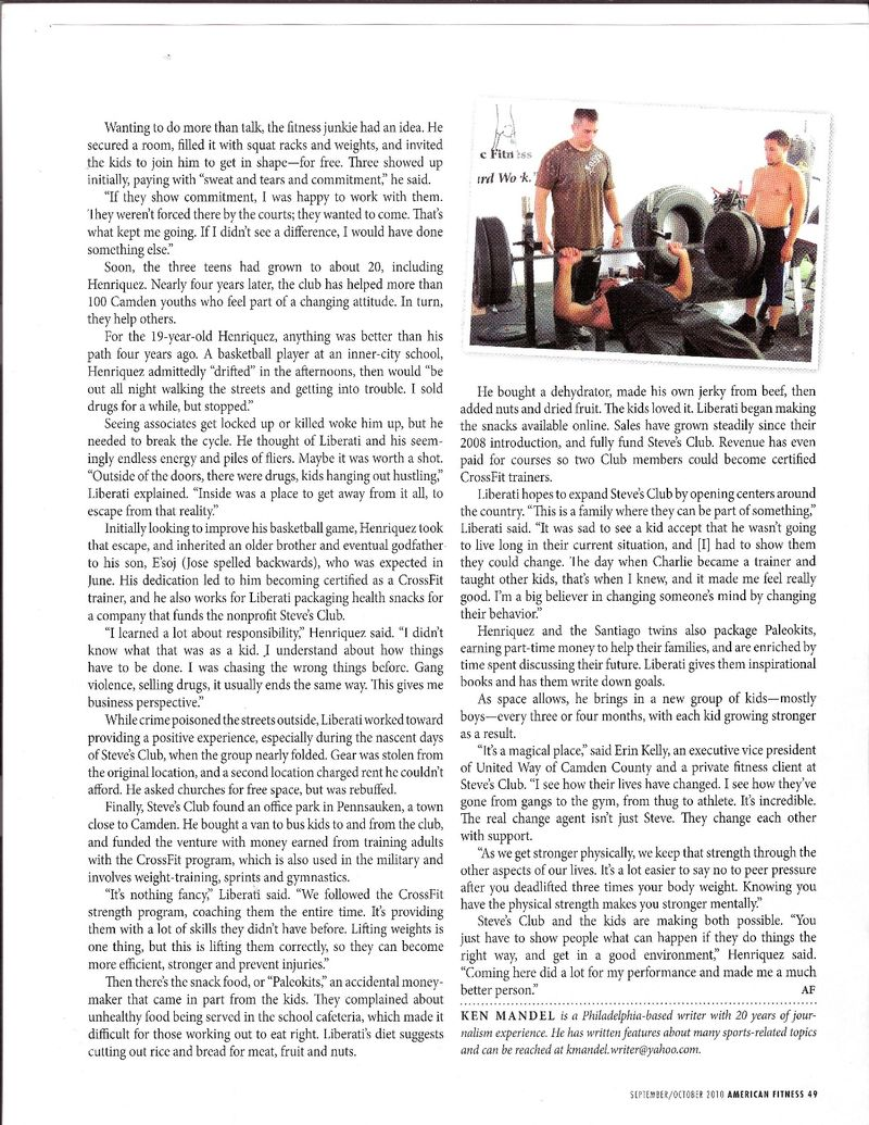 American Fitness Steve's Club article 2